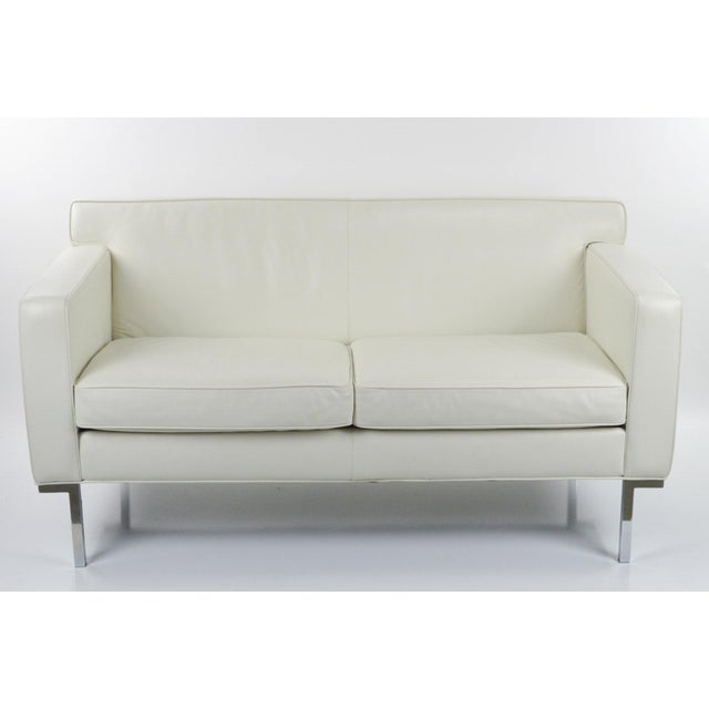 Off White Leather Two Seat Sofa by DWR - Image 6 of 9