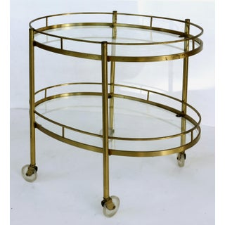 Mid-Century Modern Oval 2-Tier Rolling Bar Cart Trolley Preview