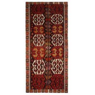 Vintage Mid-Century Malatya Red and Off-White Wool Kilim Rug- 5′10″ × 13′ For Sale
