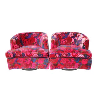 Jack Lenor Larsen Fabric Probber Swivel Chairs