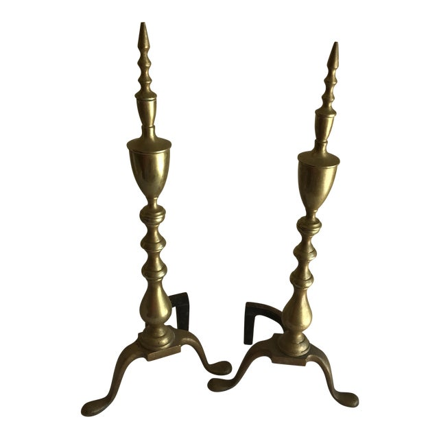 Vintage Brass Fireplace Andirons - A Pair For Sale
