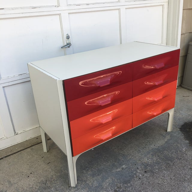 Raymond Loewy DF 2000 made in France Vibrant orange and reds! Atomic Mid Century Modern. Good vintage condition overall...