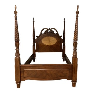 Early American Mahogany and Cherry Queen Four Poster Bedframe For Sale