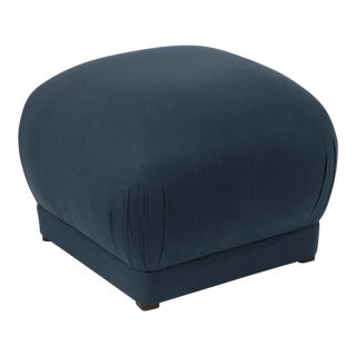 Linen Navy Square Ottoman For Sale