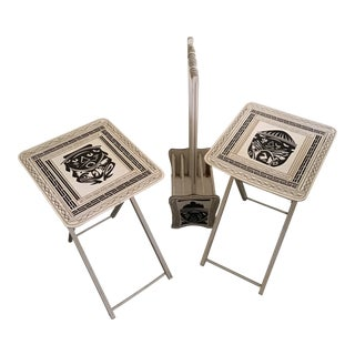 20th Century Tiki Bar Serving Folding Table Tray Set- 3 Pieces For Sale