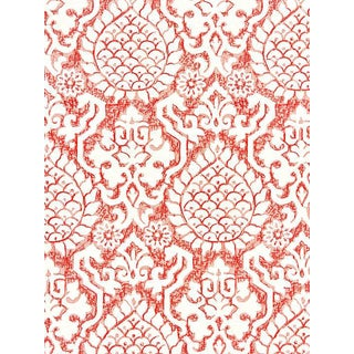 Sample, Scalamandre Surat Embroidery, Coral Fabric For Sale