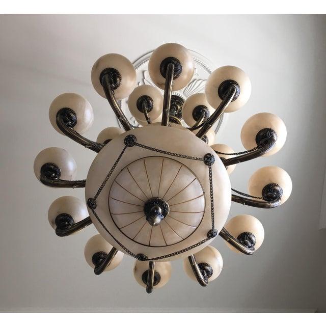 Contemporary Bronze Alabaster 3 Tier Chandelier For Sale - Image 3 of 4