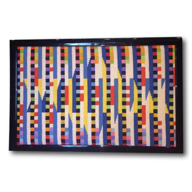 Vintage Needlepoint Geometric Op Art - Image 2 of 5