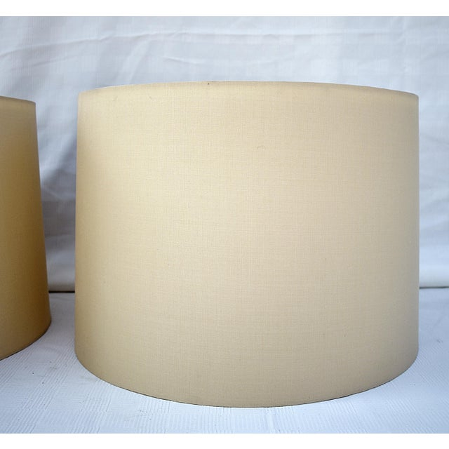 """Pair of Handmade Ivory Silk Drum Lamp Shades with Diffusers 16"""" top x 17"""" bottom x 12"""" h"""