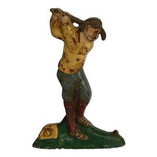 Early 20th Century Vintage Golfer Door Stop For Sale
