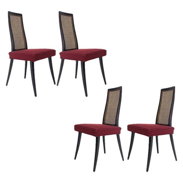 Set of 4 Harvey Probber Cane and Ebonized Mahogany Model 1055 Dining Chairs For Sale - Image 9 of 9