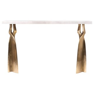 """""""Chital"""" Console Table in Cream Shagreen and Bronze-Patina Brass by Kifu Paris For Sale"""