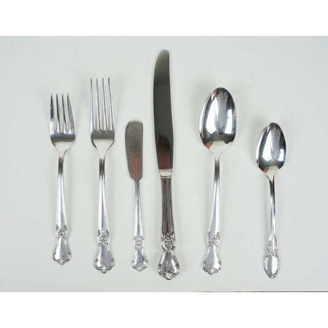 1940s Antique Silver Plate Flatware, Service for 8 - Set of 59 For Sale - Image 5 of 8