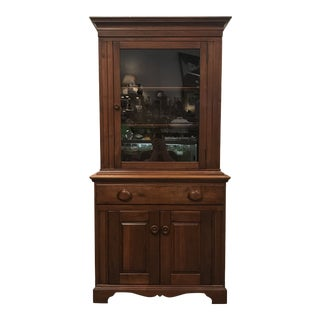 1950s Traditional American Walnut Manufacturers Solid Walnut Cupboard For Sale