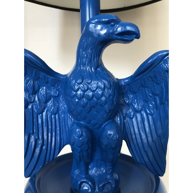 Fabulous newly lacquered in a stunning royal blue brass and metal Federal-style floor lamp supported by twisted metal...