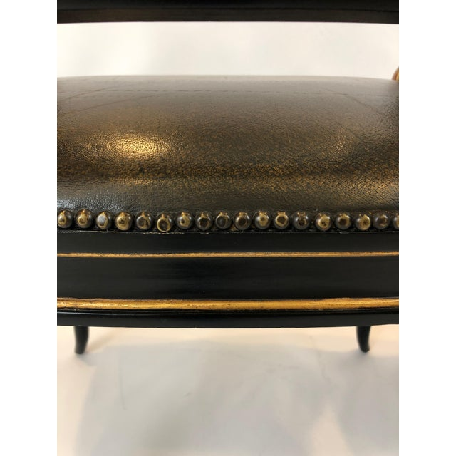Wood Regency Black and Gilded Armchairs With Leather Seats - a Pair For Sale - Image 7 of 13