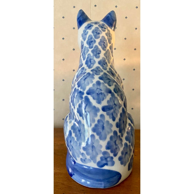 Shabby Chic 1980s Vintage Ceramic Blue & White Ikat Style Cat Figurine For Sale - Image 3 of 6