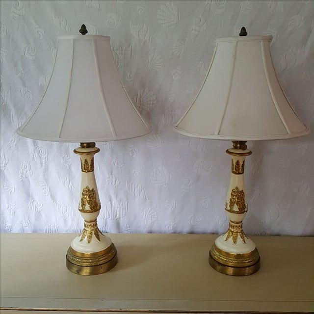 19th C French Patinated Bronze Cherub Lamps - Pair - Image 2 of 2