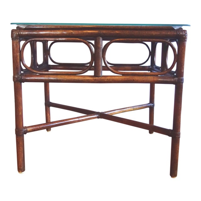 Vintage Rattan Side Table With Glass Top For Sale