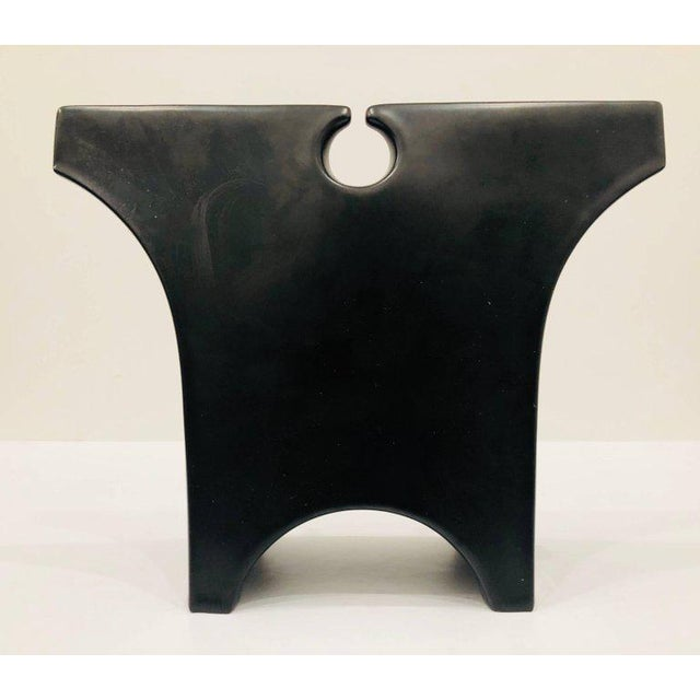 Incredible hard to find piece design by Lino Sabattini, circa 1980s in black mate porcelain finish, stamped at the bottom...