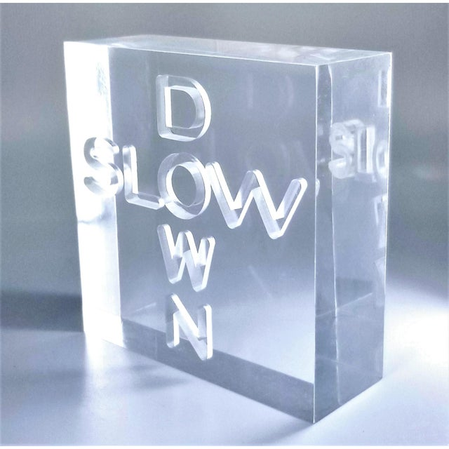 """Transparent Pop Art 1960s Lucite Sculpture With Engraved """"Slow Down"""" Text For Sale - Image 8 of 13"""