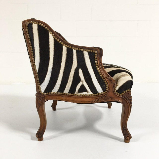 Vintage Carved Chair in Zebra Hide - Image 4 of 11