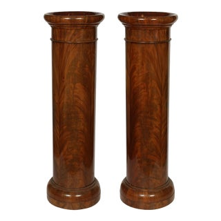 Burled Mahogany Antique Inset Pedestal Columns - a Pair For Sale