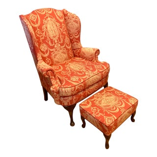 Antique Red Toile Wingback Chair and Ottoman For Sale