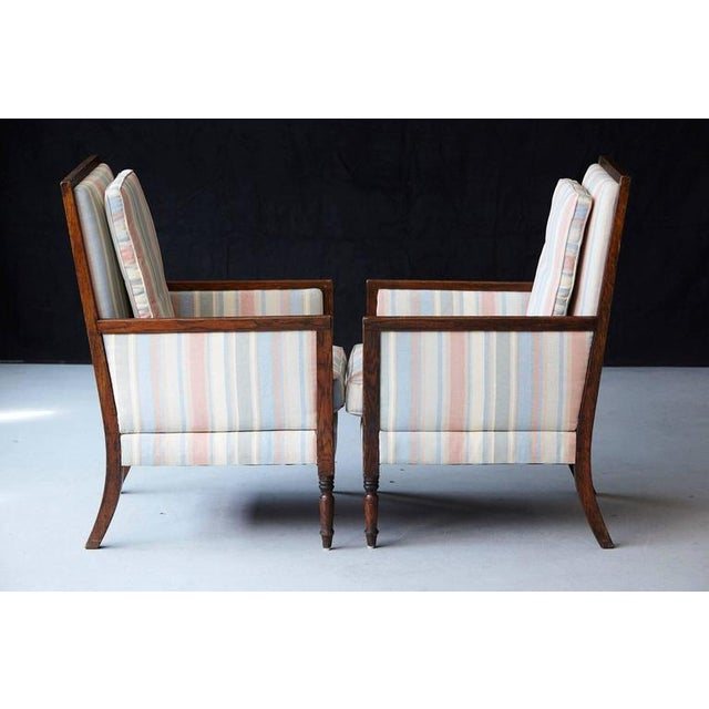 Fabric Pair of Italian Neoclassical Style Bergères in Pastel Striped Moiré Taffeta For Sale - Image 7 of 10