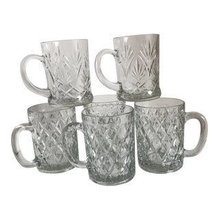 Cut Glass Mugs - Set of 6
