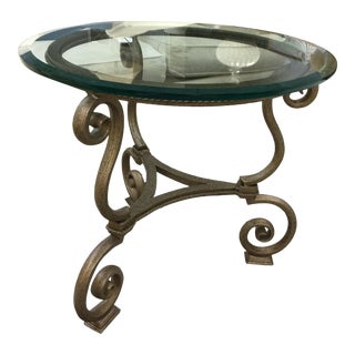 Vintage Metal and Glass Round Side Table For Sale