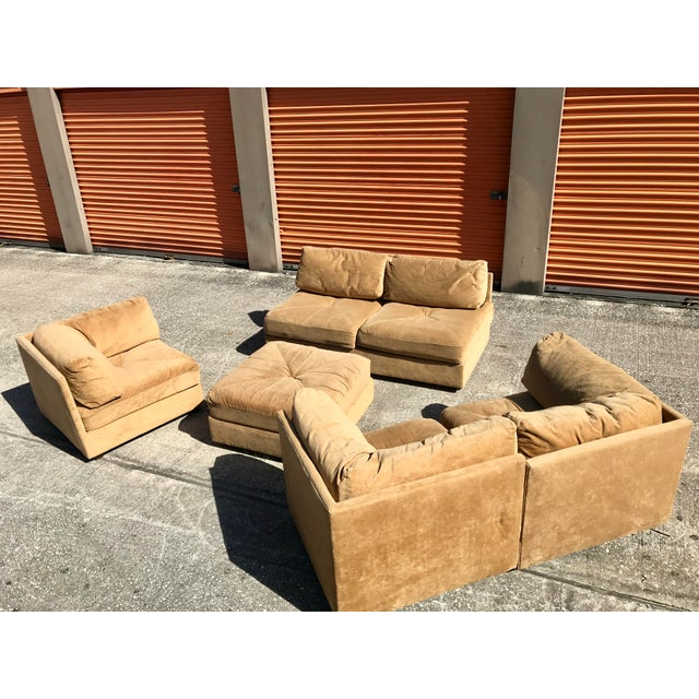c6d0d45e198e This is an incredibly comfortable Selig 1970s Milo Baughman style sectional  sofa in brown upholstery.