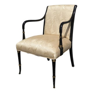 Vintage French Floral Silk Black & Gold Accent Chair For Sale