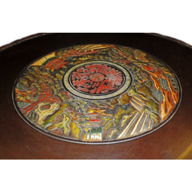 Asian Ornate Oriental Wood Carved Round Coffee Occasional Table For Sale - Image 3 of 5