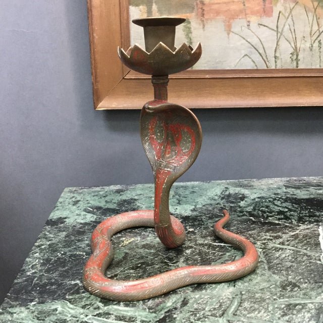 Brass Enameled Cobra Candle Holder - Image 3 of 8