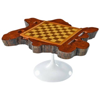 Backgammon Chess Checkerboard Live Edge Cypress Gaming Table For Sale