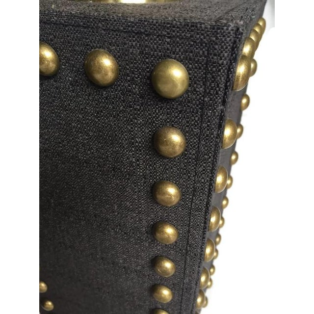 Modern Glam Studded Black & Brass Lamps - Pair - Image 5 of 10