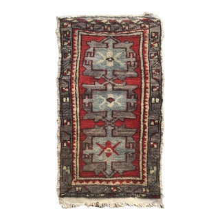 "Hand Made Vintage Tribal Turkish Runner Rug Mat 1'8""x2'9"" For Sale"