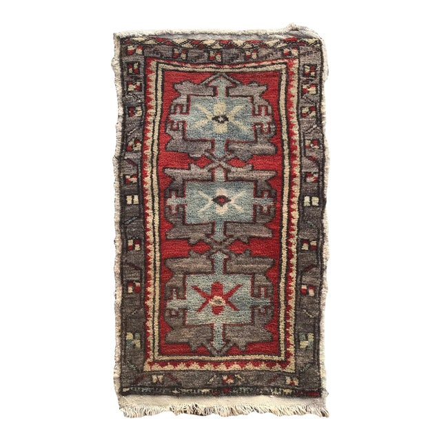 "Hand Made Vintage Tribal Turkish Runner Rug Mat 1'8""x2'9"" For Sale"