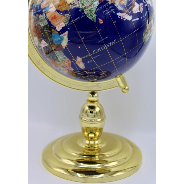 Traditional Vintage Blue Lapis World Globe on Brass Stand With Semiprecious Gems For Sale - Image 3 of 13