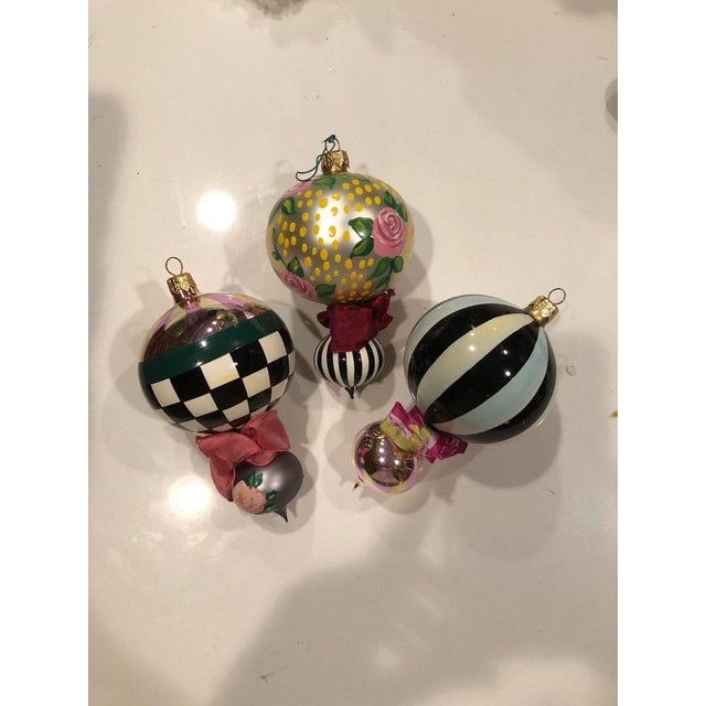 Mackenzie Childs Christmas Ornaments.Modern Mackenzie Childs Glass Christmas Tree Ornaments Set Of 3