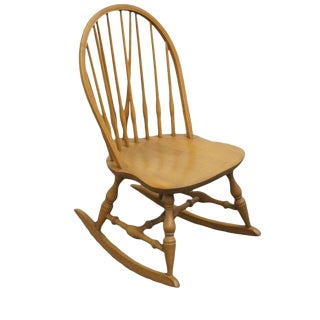 Late 20th Century Vintage Nichols & Stone Co. Bowback Windsor Maple Rocking Chair For Sale
