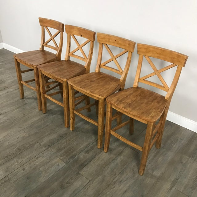 Rustic Pottery Barn Bar Stools - Set of 4 - Image 3 of 11