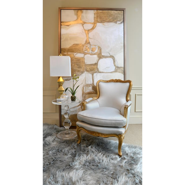 1960s Louis XV Gilt Wood and Fortuny Silver Silk Blend Upholstered Bergere Chairs - a Pair For Sale - Image 10 of 12