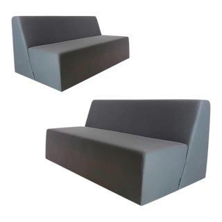 Pair of Post Modern Style Grey Gallery Sofas by Steelcase - Priced Per Piece For Sale