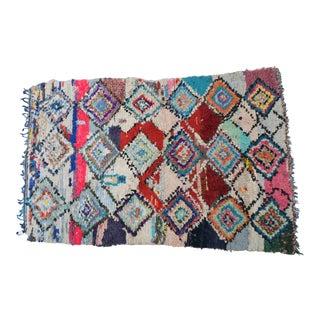 1950s Vintage Moroccan Rag Rug - 4′9″ × 8′ For Sale