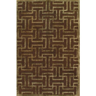 "Pasargad N Y Handmade Hand-Tufted Modern Area Rug - 4'9"" X 7'8"" For Sale"