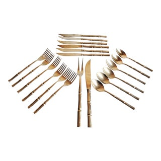 Vintage Bronze Bamboo Desert Set, Set of 20 For Sale