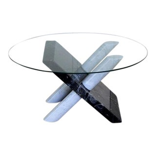 1970s Mid-Century Modern Carrara Black Marble X Base Coffee Table For Sale