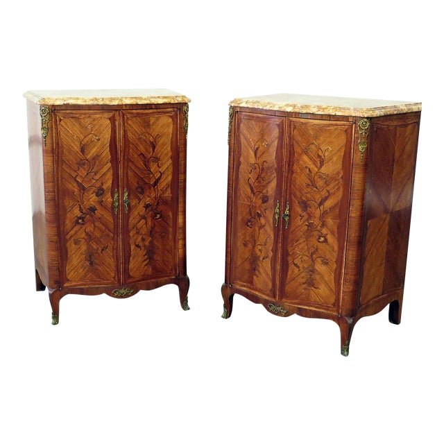 Pair of Maison Jansen Inlaid Marble Top Commodes For Sale